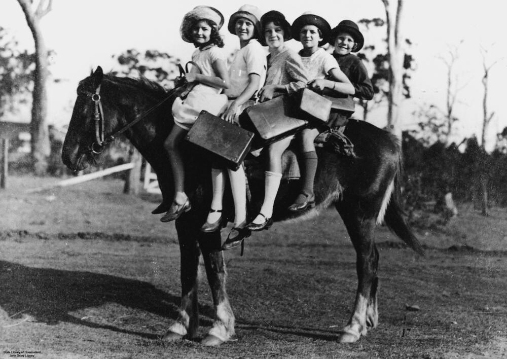 Children riding a horse to school, Glass House Mountains