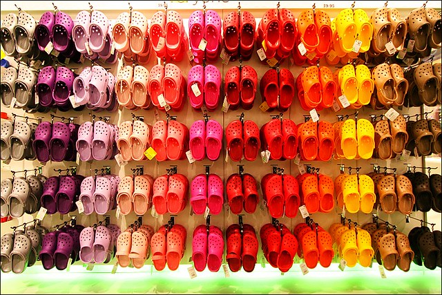 rainbow wall of crocs
