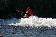 powerboating(0.0), jet ski(0.0), personal water craft(0.0), canoeing(0.0), vehicle(1.0), sports(1.0), rapid(1.0), recreation(1.0), outdoor recreation(1.0), kayak(1.0), boating(1.0), canoe slalom(1.0), extreme sport(1.0), wave(1.0), water sport(1.0), kayaking(1.0), whitewater kayaking(1.0), watercraft(1.0), boat(1.0), paddle(1.0),