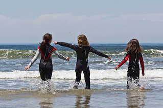 Three Girls, Splashing in the water - Morro Bay, California, USA Scenes from Morro Bay, CA beach 21 June 2008