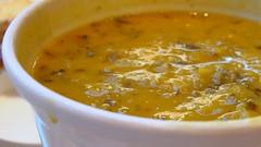 vegetable(0.0), bisque(0.0), plant(0.0), calabaza(0.0), produce(0.0), fruit(0.0), gravy(1.0), curry(1.0), food(1.0), leek soup(1.0), dish(1.0), soup(1.0), cuisine(1.0),