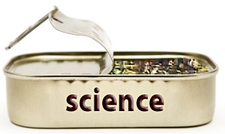 "Pried open tin can marked ""science"""