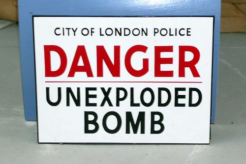 Danger, unexploded bomb