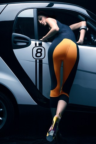 Smart Fortwo And Hot Girl In Black Iphone Wallpaper A Photo On