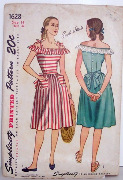 Vintage Simplicity Pattern 1628 Womens Size 14 40s Dress with Over the Shoulder Ruffle and Form Fitting Bodice