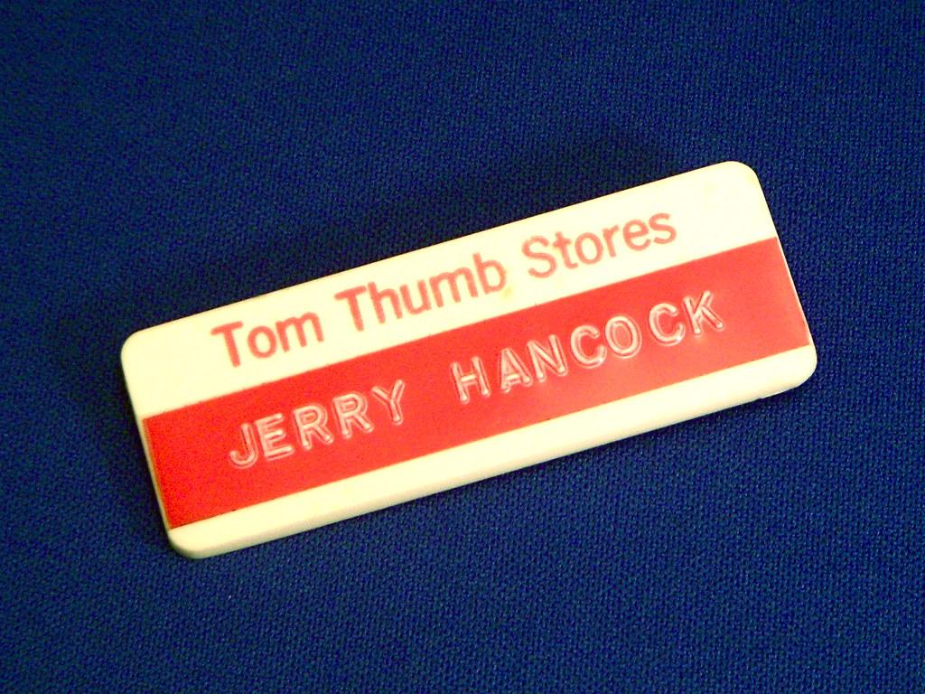 1971 Tom Thumb Name Badge