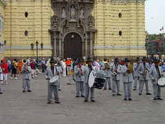 A band playing in front of Iglesia San Francisco, Lima