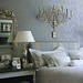 Sheila Bridges: Luxe damask wallpaper in bedroom, from Elle Decor by SarahKaron