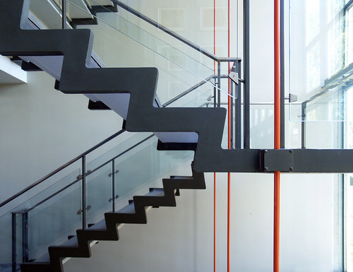 arne jacobsen, central steel staircase, rødovre town hall, 1952-1956