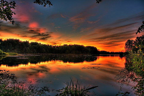 Hinckley Lake Sunset- Late Dusk