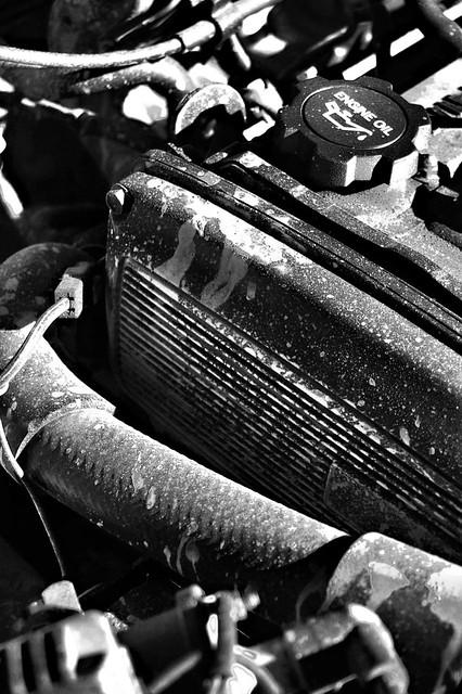 Muddy engine bay B&W