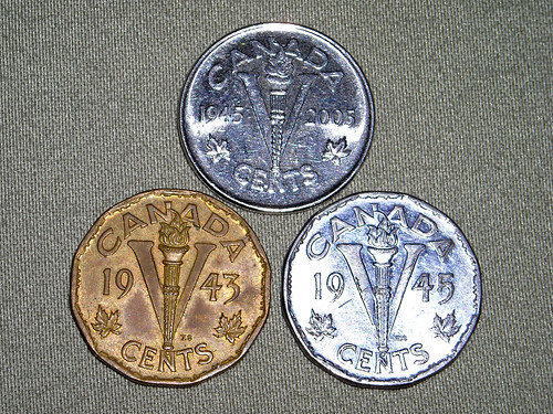 Canadian nickels - V for Victory