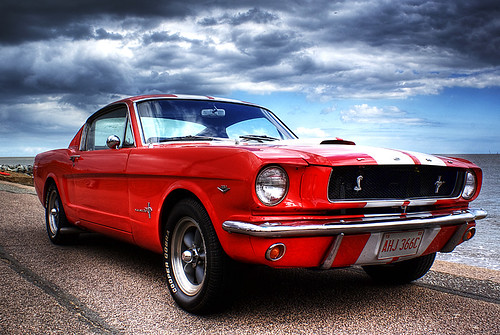 Ford Mustang on Felixstowe beach