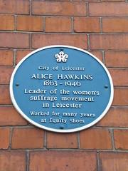 Photo of Alice Hawkins blue plaque