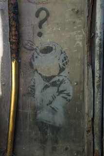 Banksy's Little Diver under glass ....