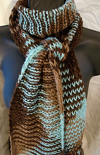 Dark Chocolate Sand and Turquoise Hand Knit Winter Scarf With Fringe