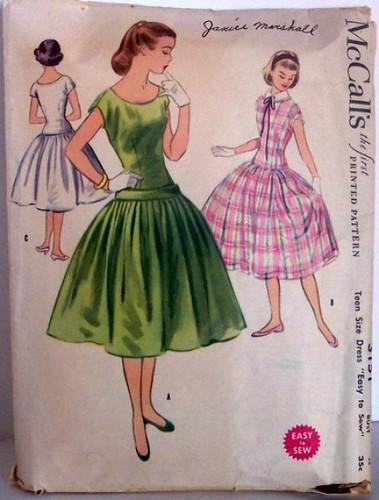 Vintage Mccalls  Pattern 3151 Size 10 Teen Rockabilly 50s Full Skirt Dress