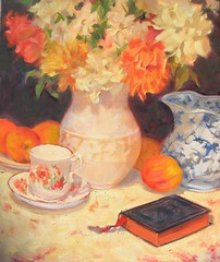 Still Life with book and peonies