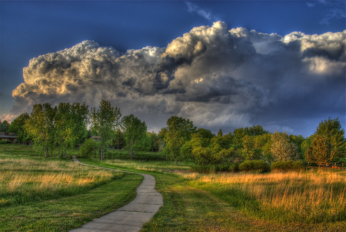 park blue trees light sky sunlight storm green nature grass weather hail clouds skyscape landscape bravo colorado shadows path denver sidewalk hdr goldstar thunderclouds littleton naturesfinest photomatix flickrsbest 200806 beautifulcapture mywinners flickrgold diamondclassphotographer flickrdiamond goldstaraward