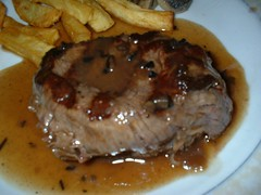 gravy, meal, pork chop, meat, sirloin steak, salisbury steak, food, dish, meat chop, cuisine,