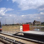 Beckton Gas works, and DLR train Gallions Reach DLR station,1994