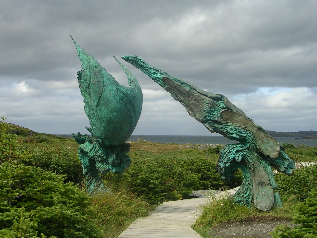 Sculptures on boardwalk at L'Anse Aux Meadows