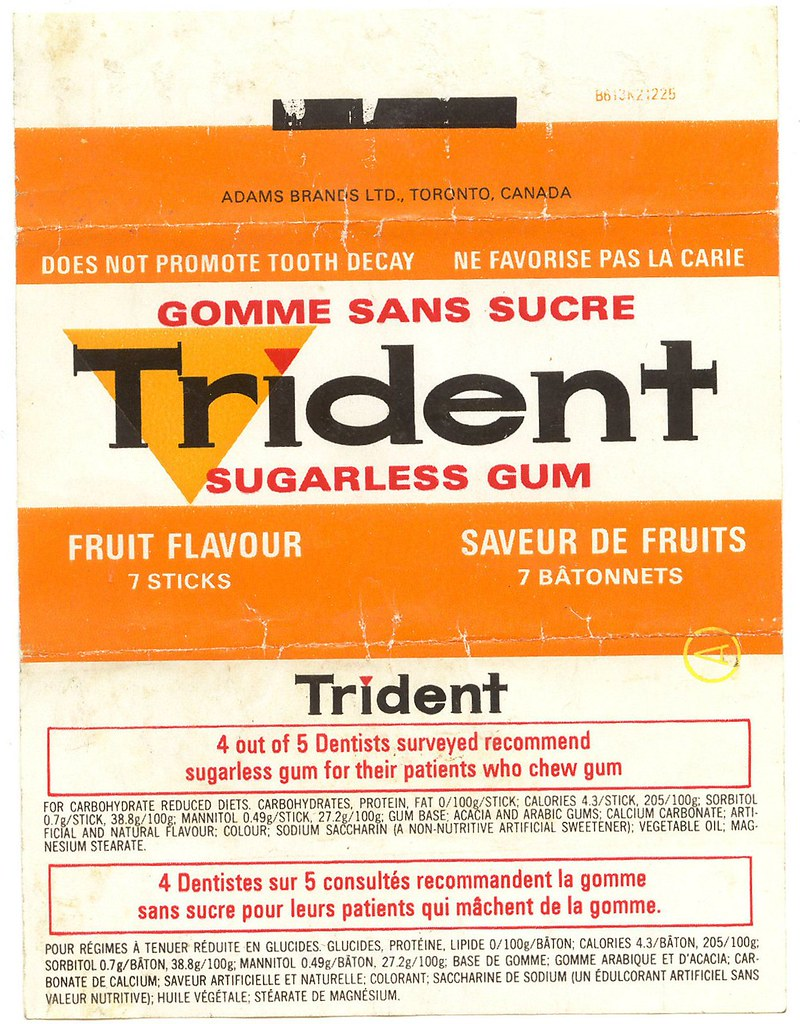 Trident Gum Package I Got A Nice Pile Of Old Gum Wrappers Flickr