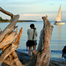brittney and kyle at cadboro bay. oh, and also a big-ass piece of driftwood. and um, a sailboat. by tamelyn