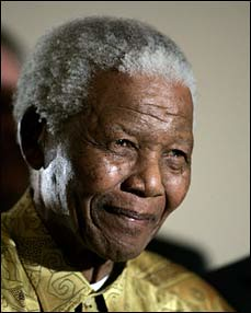 Former Republic of South Africa President Nelson Mandela shown after receiving a R3-million donation to his foundation on June 18, 2008. by Pan-African News Wire File Photos