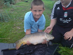 Caught 7/8/08 from Moss Lake, Tutti Fuitti boillie tipped with plastic corn, 12lb 5oz mirror for Kyle.