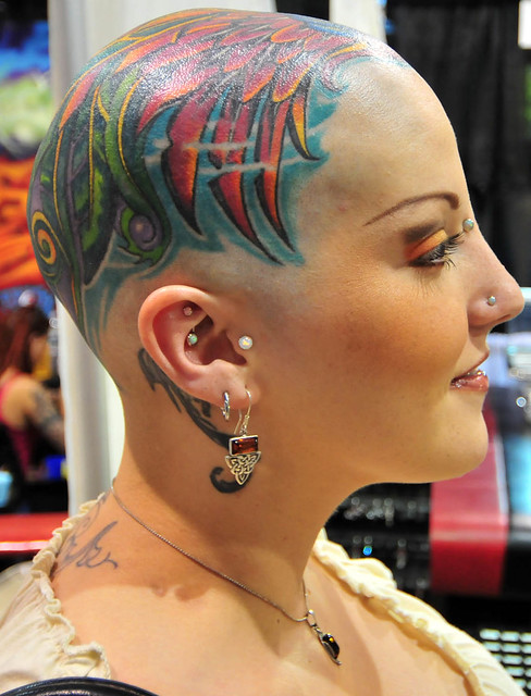 Bald women a gallery on flickr for Full head tattoo