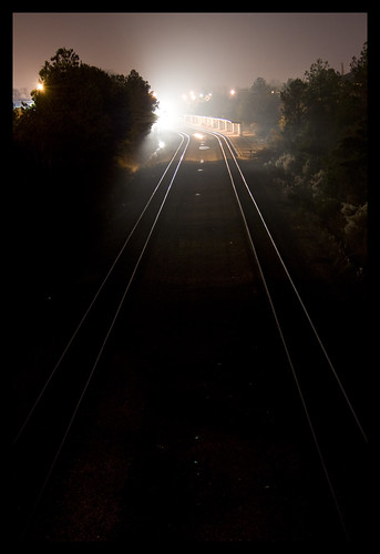 city railroad trees light urban black metal night train vanishingpoint haze glow horizon traintracks tracks columbia southern headlight overlook vanishing csx theunforgettablepictures