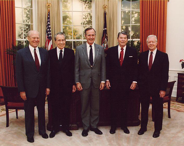 1991 Five Former Presidents Gerald Ford, Richard Nixon, George H W Bush, Ronald Reagan, & Jimmy Carter from Flickr via Wylio