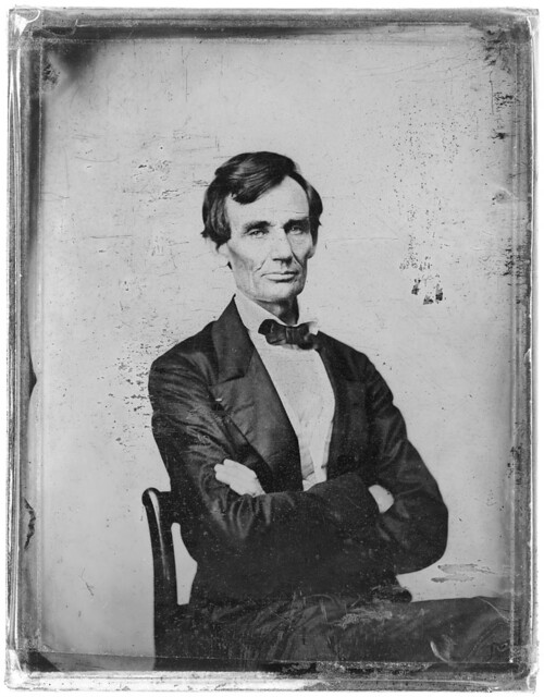 [Abraham Lincoln, candidate for U.S. president. Half-length portrait, seated, facing front] (LOC)