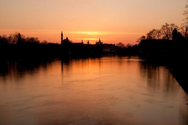 Wroclaw - Sonnenuntergang an der Oder