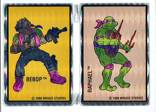 "Vending Machine Prism Stickers :: ""TEENAGE MUTANT NINJA TURTLES"" - Bebop & Raphael  (( 1988 ))"