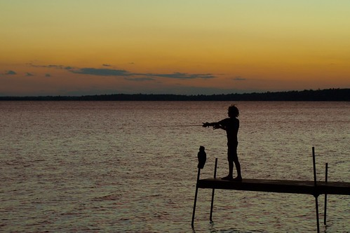 fishing sunset beaconshoresresort whitefishlake crosslake mn usa silhouette