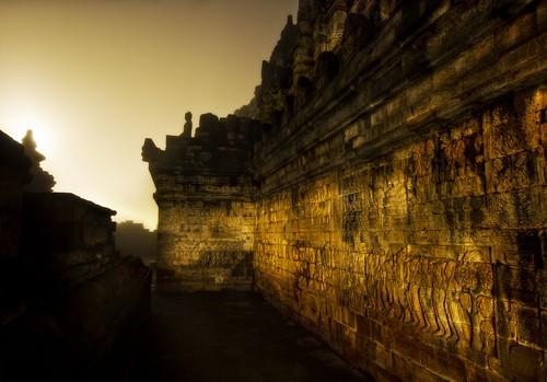The Dark Temple Corridor in Morning Mist at 4 AM