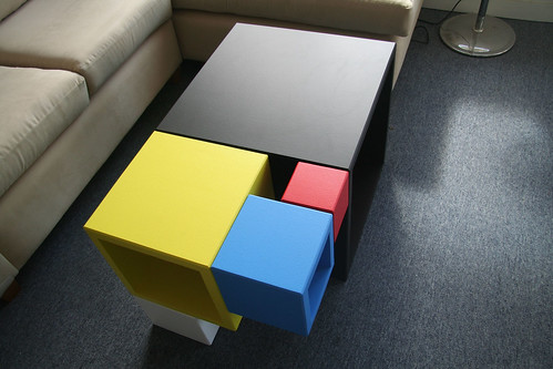 Mondrian/Fibonacci Table (MDF & Paint)
