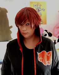 hairstyle, clothing, red, hair, hair coloring, costume, wig, cosplay,