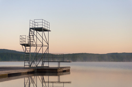 morning summer mist lake tower water fog forest sunrise suomi finland landscape 50mm pier nikon empty platform diving dew f18 jyväskylä d90