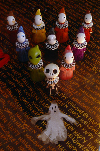 Skelly and some friends; aka poppet bowling; prepare for Halloween