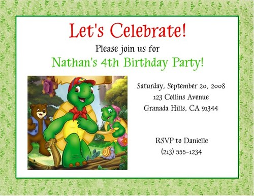 Franklin the Turtle Invitations