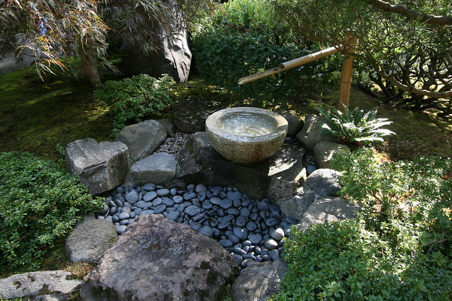 Water feature at the japanese garden in portland for for Japanese garden water