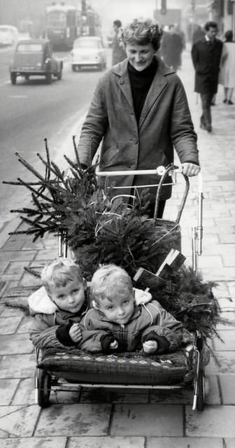 Kerst: tweeling en kerstboom in wandelwagen