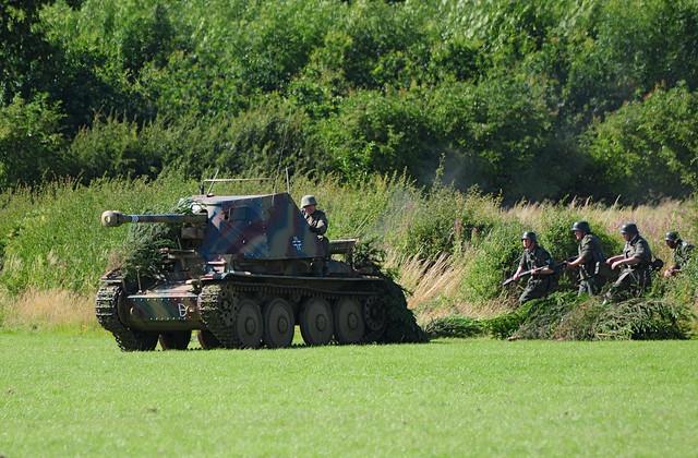 German Soldiers WW2 (Re-enactors) with Self-Propelled Gun at Kelmarsh Festival of History 2009