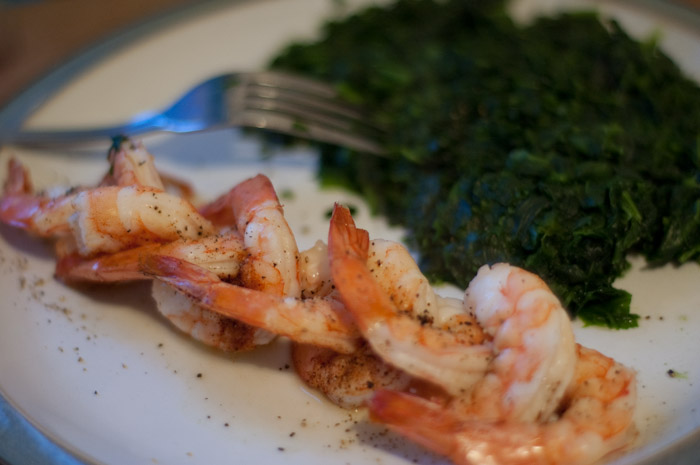 shrimp, spinach.