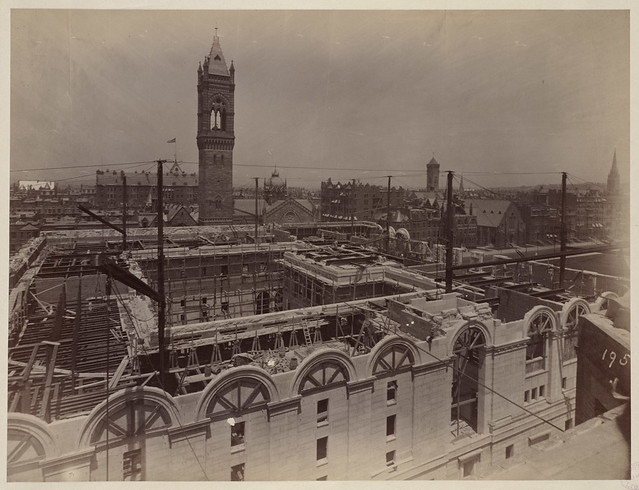 View of Blagden St. side and courtyard construction, construction of the McKim Building