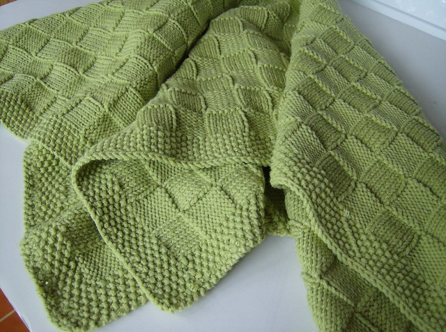 Lime Basketweave Knit Baby Blanket Finished another one...? Flickr - Phot...