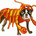 dogs in crustacean outfits